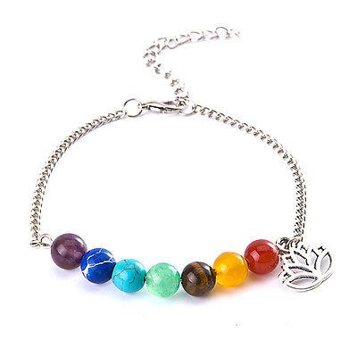 7 Chakra bunte Perlen Armband Lotus Anhänger Energie Knöchel Kette Schmuck ZJHN