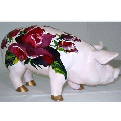 SCHWEIN mit KUNSTBEMALUNG rosa ROSEN 30 cm Deko Garten Tier Figur GLÜCKSSCHWEIN