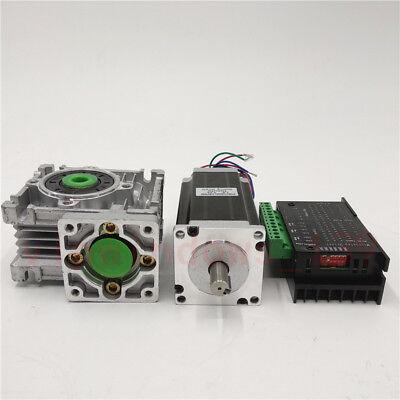 Nema23 3NM Stepper Motor Driver Kit 4.2A & Worm Gearbox Speed Reducer 30:1 CNC 3