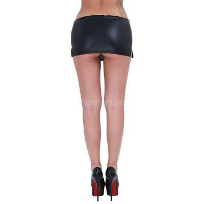 Damen Kurz Rock Wetlook Lederrock Minirock mit G-string Unterwäsche Schwarz sexy 9