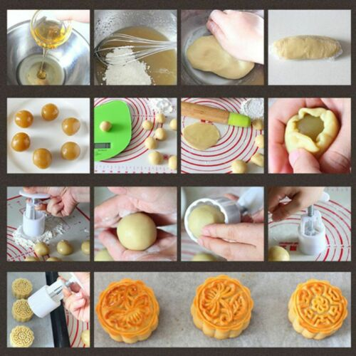 6 Flowers STAMPS Round Pastry Moon Cake Mold 50g Mould Cookies Mooncake Decor 9