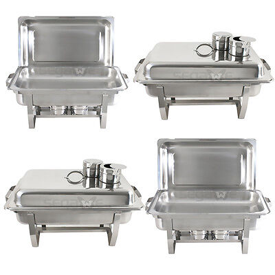 4 Pack Catering Stainless Steel Chafer Chafing Dish Sets 8 Qt Party Pack 3