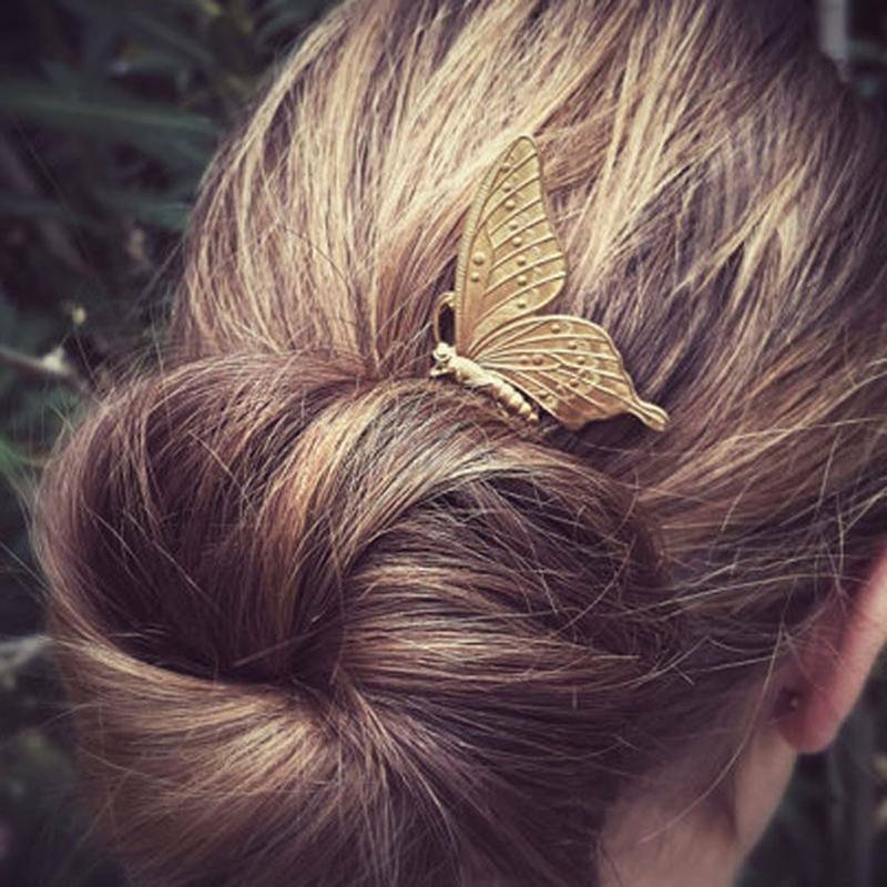 Fashion Style Women Girls Alloy Butterfly Hair Comb Headwear 3