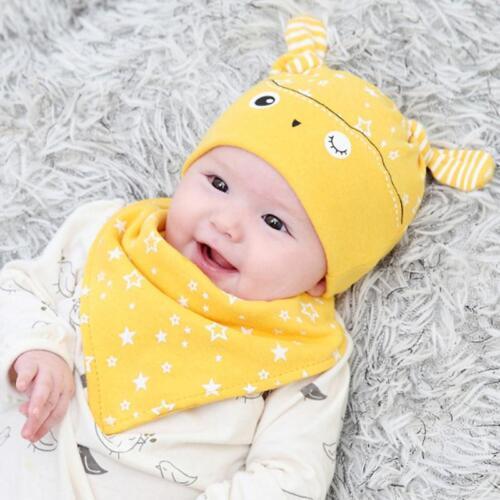 94f5344a5 2PCS SET BANDANA Cotton Baby Boy Girl Cap Owl Hat Bib Head Scarf Toddler  Saliva