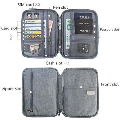 Family Passport Holder Travel Wallet Ticket Document Organiser Bag Multi-purpose 3