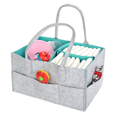 Baby Diaper Organizer Caddy Felt Changing Nappy Kids Storage Carrier Bag N7 4