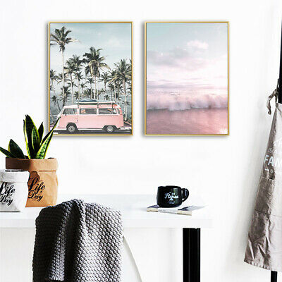 Pink Bus Beach Wall Art Canvas Poster Nordic Style Print Picture Home Decoration 4