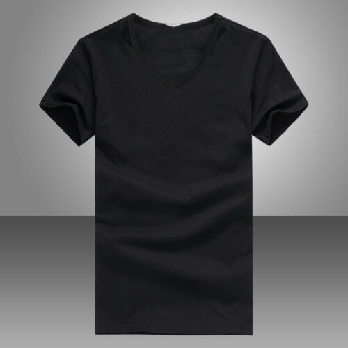Summer Men V Neck Slim T-Shirt Tops Cotton Short Sleeve Black White 4