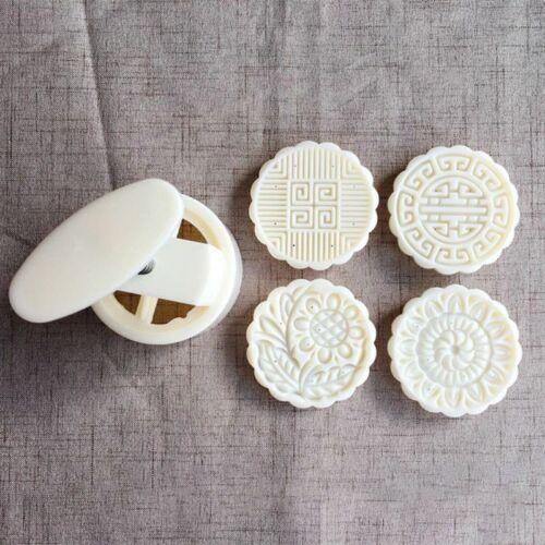 4pcs 125g 3D Flower Stamps Moon Cake Decor Mould Barrel Round Mooncake Mold 6