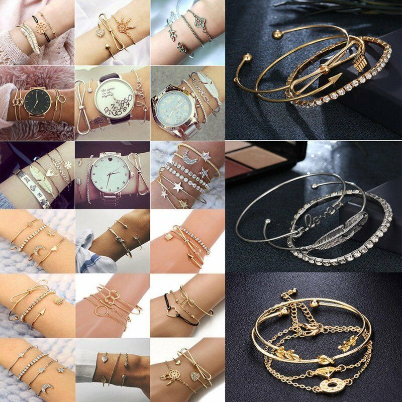 New Fashion Women Boho Gold Silver Bracelets Rhinestone Bangle Cuff Jewelry Set 4