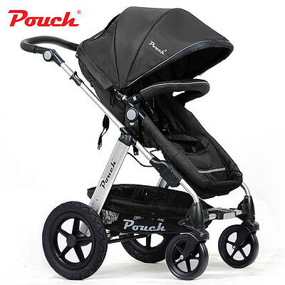 New 2 In 1 Baby Toddler Pram Stroller Jogger Aluminium With Bassinet Black 3