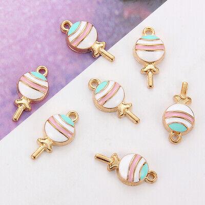 10Pc Kawaii Lollipops Enamel Charm Pendant DIY Necklace Bracelet Earrings Making 4