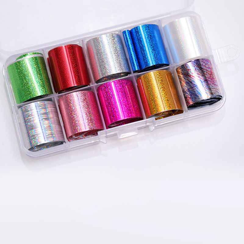 10 Rolls/Box Nail Foils Starry Sky Nail Art Transfer Mixed Pattern Stickers 6
