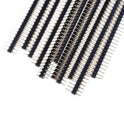 Neue 10 Stücke Vergoldet 2,54mm 40Pin Einreihige Gerade Runde Stiftleiste  X