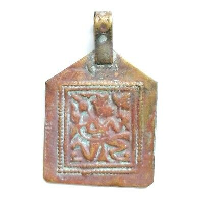 Old Bronze  2.5 cm x 4 cm Amulet Intaglio Carving Pendant Antiques Collectible 2