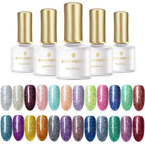 BORN PRETTY UV LED Glitter Sequins Gel Nail Polish Soak Off Topcoat Varnish 6ml 6
