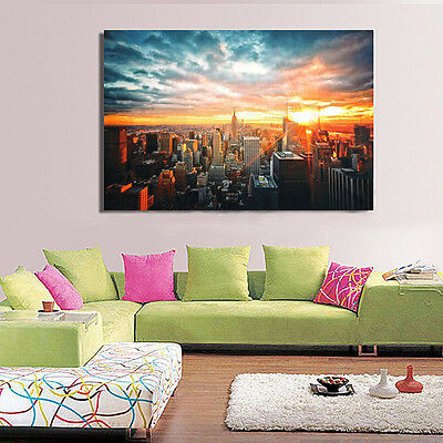 Modern Art New York City Sunset Poster Wall Cityscape Cloth Print Home Decor New 7