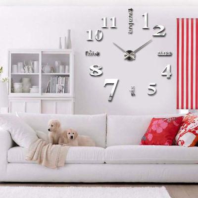 3D Large Wall Clock Mirror Sticker Big Watch Sticker Home Decor Unique Gift DIY 2
