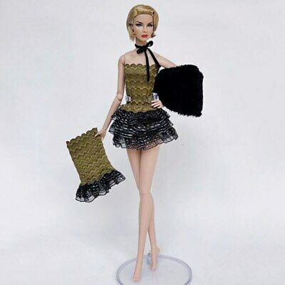 1set High Fashion Doll Clothes for 1/6 Doll Outfits Top Shirt & Skirt & Shawl 10