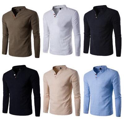 Fashion Men's Casual Polo Shirt Men Slim Fit V-neck Long Sleeve Tops Tee T-shirt 2