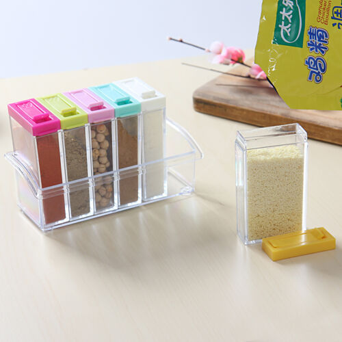 6x bo te rangement pot epice cuisine alimentaire bouteille stockage en plastique eur 4 45. Black Bedroom Furniture Sets. Home Design Ideas