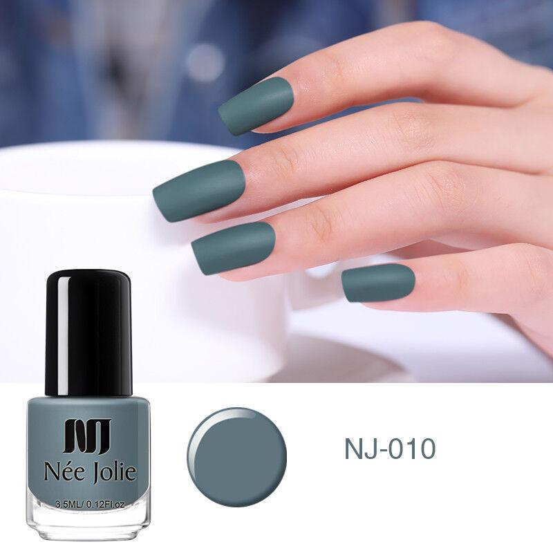 NEE JOLIE 3.5ml Matte Nail Polish Pure Tips Purple Green Black Nail Art Varnish 9