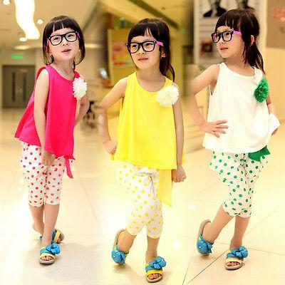 2 Pz Nuovo Per Neonati Bambini Bambine Outfit T-shirt Senza Maniche Pantaloni 2