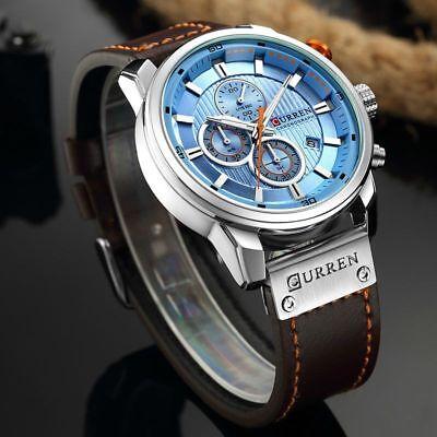 Men Waterproof Leather Aviator Army Military Chronograph Date Quartz Wrist Watch 4