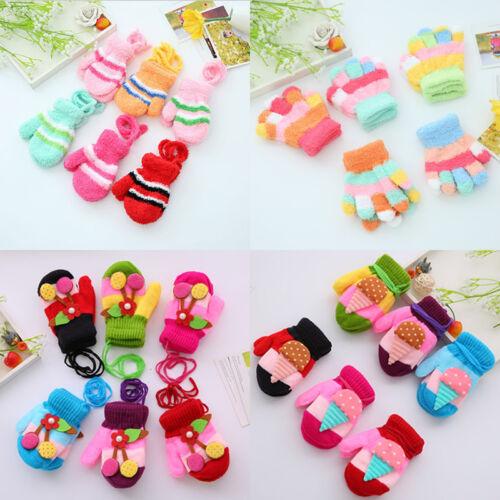 Kid Toddler Cherry/ Flower Winter Unisex Soft Gloves Full Finger Warmer Mittens
