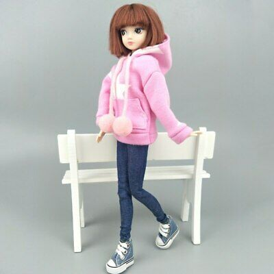 """Pink Star Sweatshirt Coat For 11.5"""" 1/6 Doll Clothes Outfits Pants Canvas Shoes 2"""