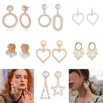 New Women Pearl Crystal Geometric Statement Drop Dangle Earrings Wedding Jewelry 3