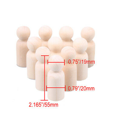 10X 35/43/55/65mm Natural Wood Person Peg Dolls Wedding Cake Toppers Toy