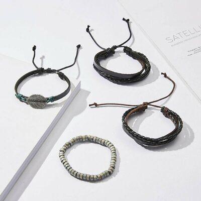 5/6pcs Fashion Mens Punk Leather Wrap Braided Wristband Cuff Bangle Bracelet New 7