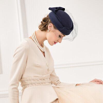 Ladies Felt Wool Fascinator Pillbox Wedding Bridal Beret Hat Headpiece CK013 5