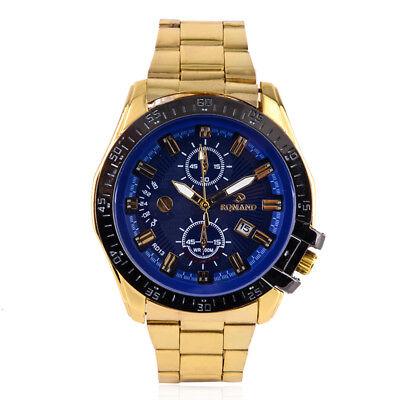 Luxury Mens Black Dial Gold Stainless Steel Date Quartz Analog Sport Wrist Watch 10