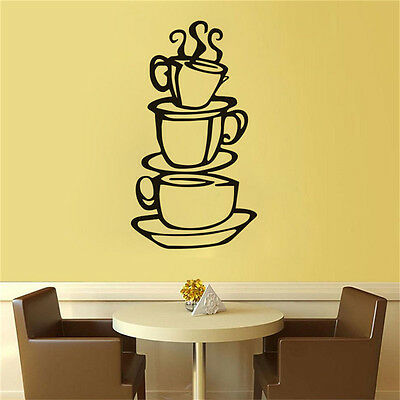 KITCHEN COFFEE House Cup Decal Removable Wall Sticker Decor Art ...
