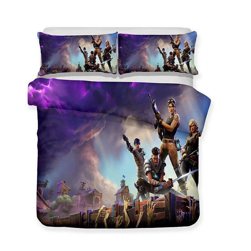 3pcs quilt duvet cover pillowcase 3d fortnite game bedding. Black Bedroom Furniture Sets. Home Design Ideas