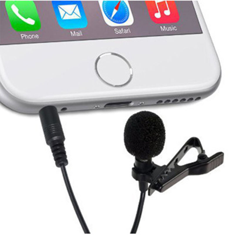 Tie Clip Mic Lapel Lavalier Condenser Microphone for iPhone iPad iPod Smartphone 8