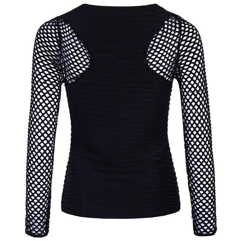 Women Slim Low Cut Long Sleeve Blouse Net Tops Punk Rock Gothic Fishnet Shirt 11