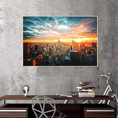 Modern Art New York City Sunset Poster Wall Cityscape Cloth Print Home Decor New 8
