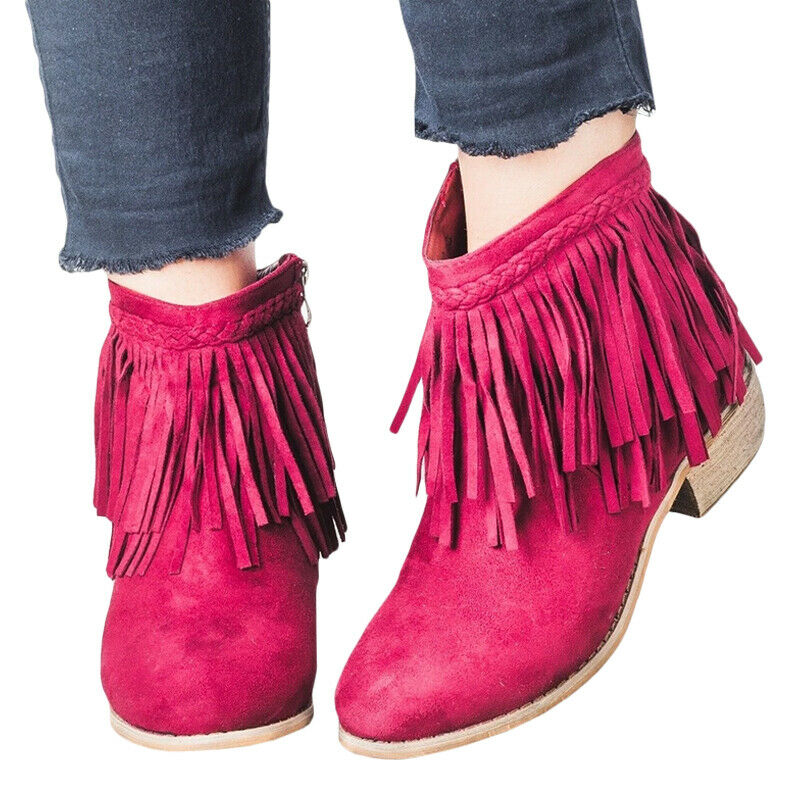 Women Ladies Short Ankle Boots Tassel Chunky Low Heel Casual Shoes UK Size 3.5-8 9