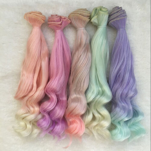 25cm Long DIY Colorful Ombre Curly Wave Doll Wigs Synthetic Hair For Dolls 1# Ho