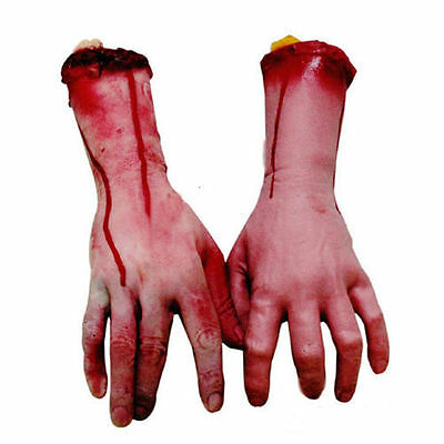 1Pair Bloody Horror Scary Halloween Props Fake Severed Arm Hand Haunted Decor US 4