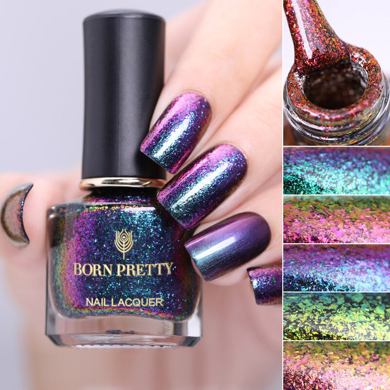 BORN PRETTY 6ml Magic Nail Polish Chameleon Glitter Holographic Nail Art Varnish 8