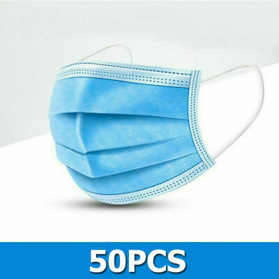 50 PACK Disposable Face Mask Medical Surgical Dental 3-Ply Earloop Mouth Cover 9