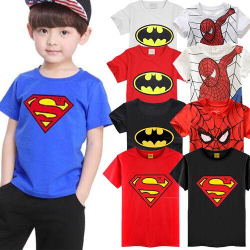 Kinder Jungen Batman Superman Spiderman T Shirt Superheld Kurzarm Sommer Tee Top