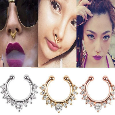 Fake Nose Ring Fake Clip On Non Piercing Crystal Septum Stud Faux