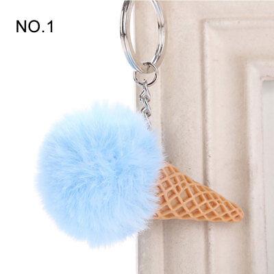 1PC Pendant Imitation Hairball Keychain Ice Cream Cute Fashion Bag Keyring 3