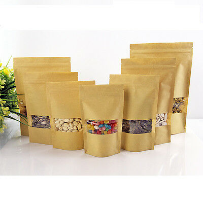 100× Kraft Paper Bag Window Stand Up Pouch Zip Lock Resealable Heat Seal Display 3