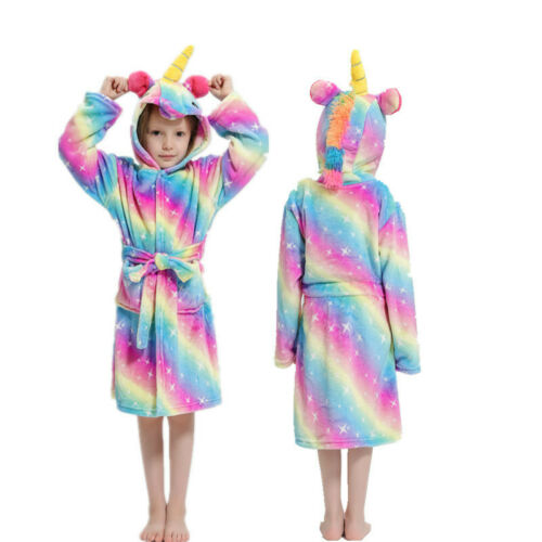 Kids Girls Boys Unicorn Dressing Gown Hooded Bath Robe Animal Print Night Wear 8